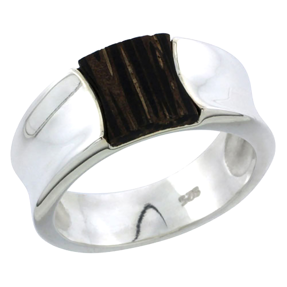 "Sterling Silver Concave Ring, w/ Ancient Wood Inlay, 3/8"" (10 mm) wide"