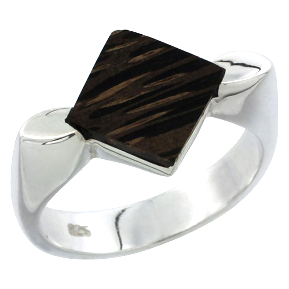 "Sterling Silver Diamond-shaped Ring, w/ Ancient Wood Inlay, 9/16"" (15 mm) wide"