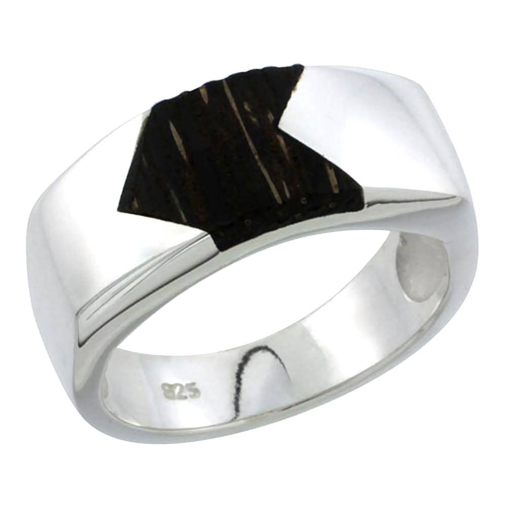 "Sterling Silver Flat Band, w/ Ancient Wood Inlay, 3/8"" (10 mm) wide"