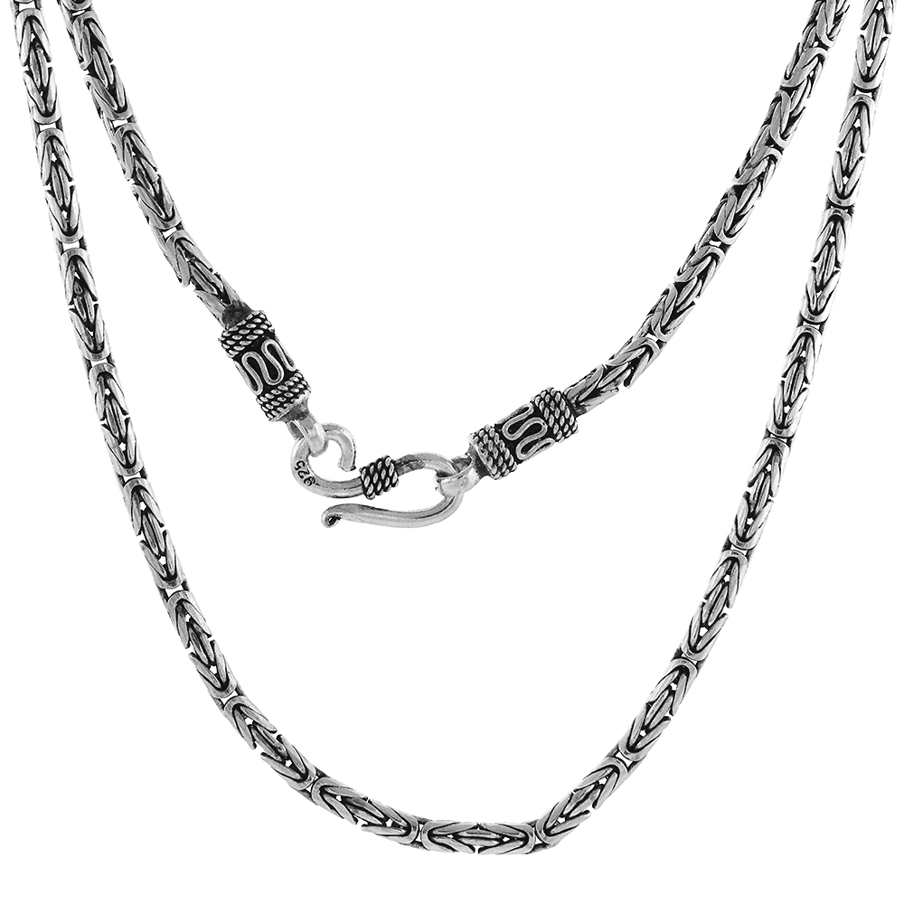 3mm Sterling Silver Round BYZANTINE Chain Necklaces & Bracelets 3mm Antiqued Finish Nickel Free, 7-30 inch