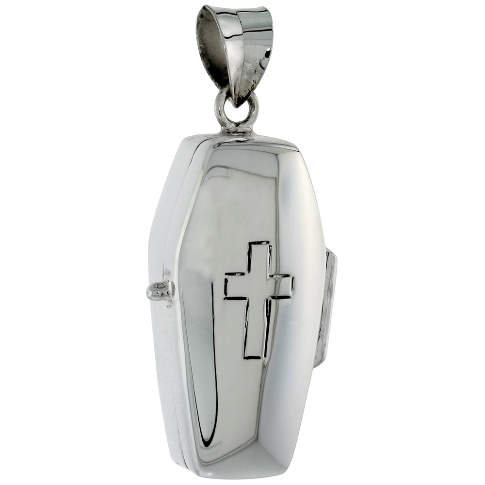 "Sterling Silver Coffin Urn Pendant, Ash Container w/ Engraved Crucifix, 1 9/16"" (40 mm) tall"