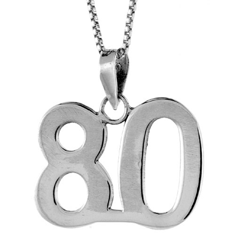 Sterling Silver Number 72 Necklace for Jersey Numbers /& Recovery High Polish 3//4 inch 2mm Curb Chain