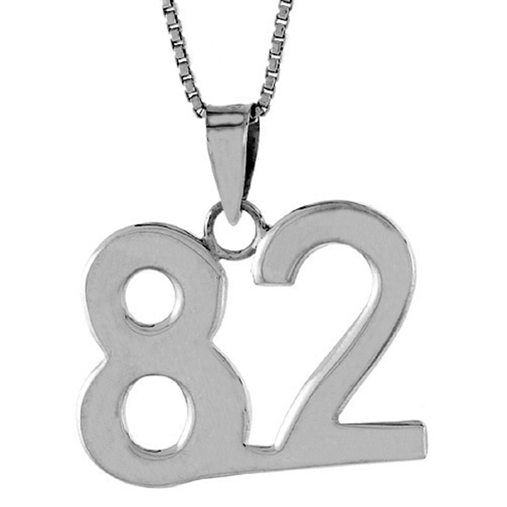 Sterling Silver Number 82 Necklace for Jersey Numbers & Recovery High Polish 3/4 inch, 2mm Curb Chain