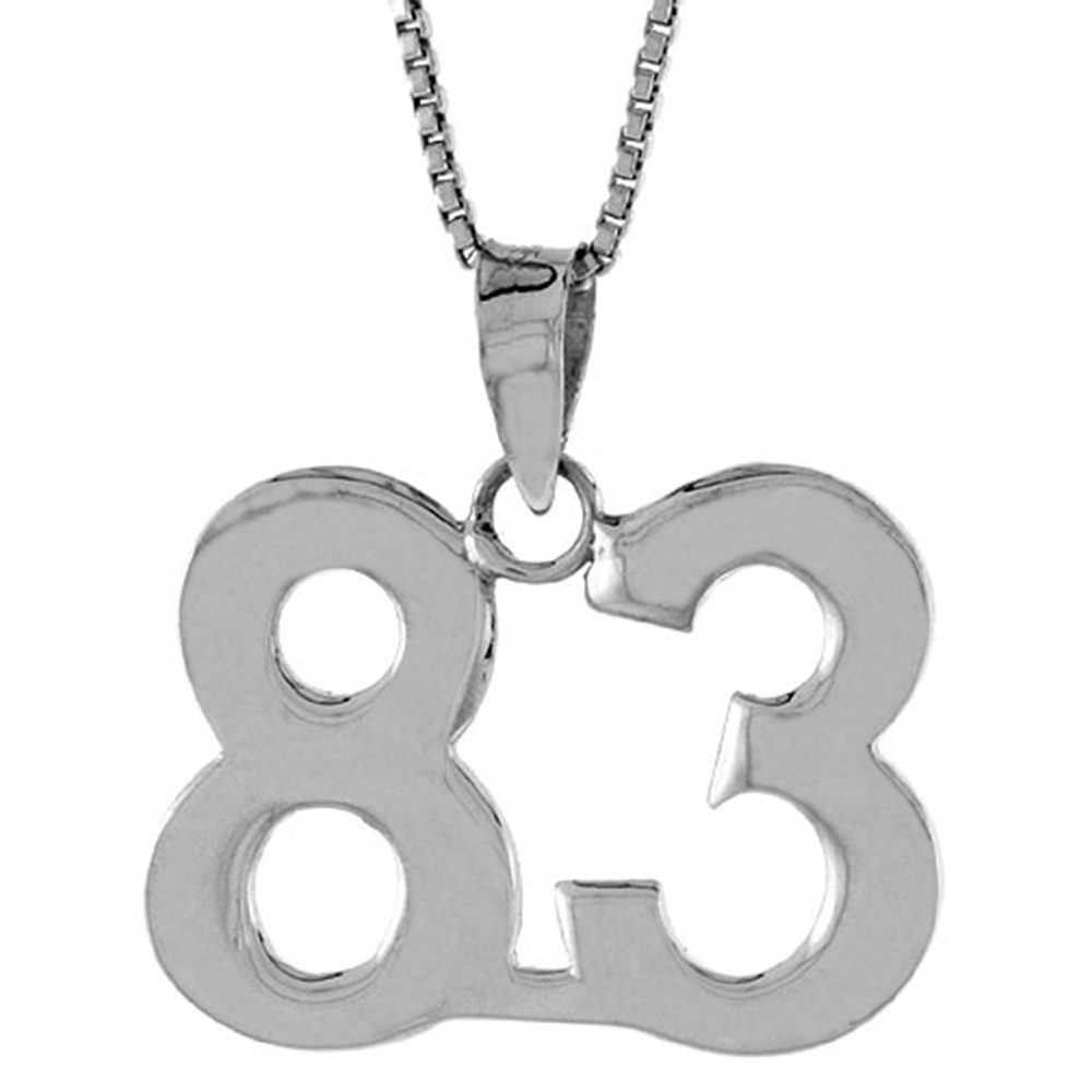 Sterling Silver Number 83 Necklace for Jersey Numbers & Recovery High Polish 3/4 inch, 2mm Curb Chain