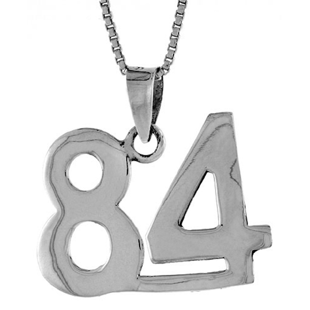 Sterling Silver Number 84 Necklace for Jersey Numbers & Recovery High Polish 3/4 inch, 2mm Curb Chain