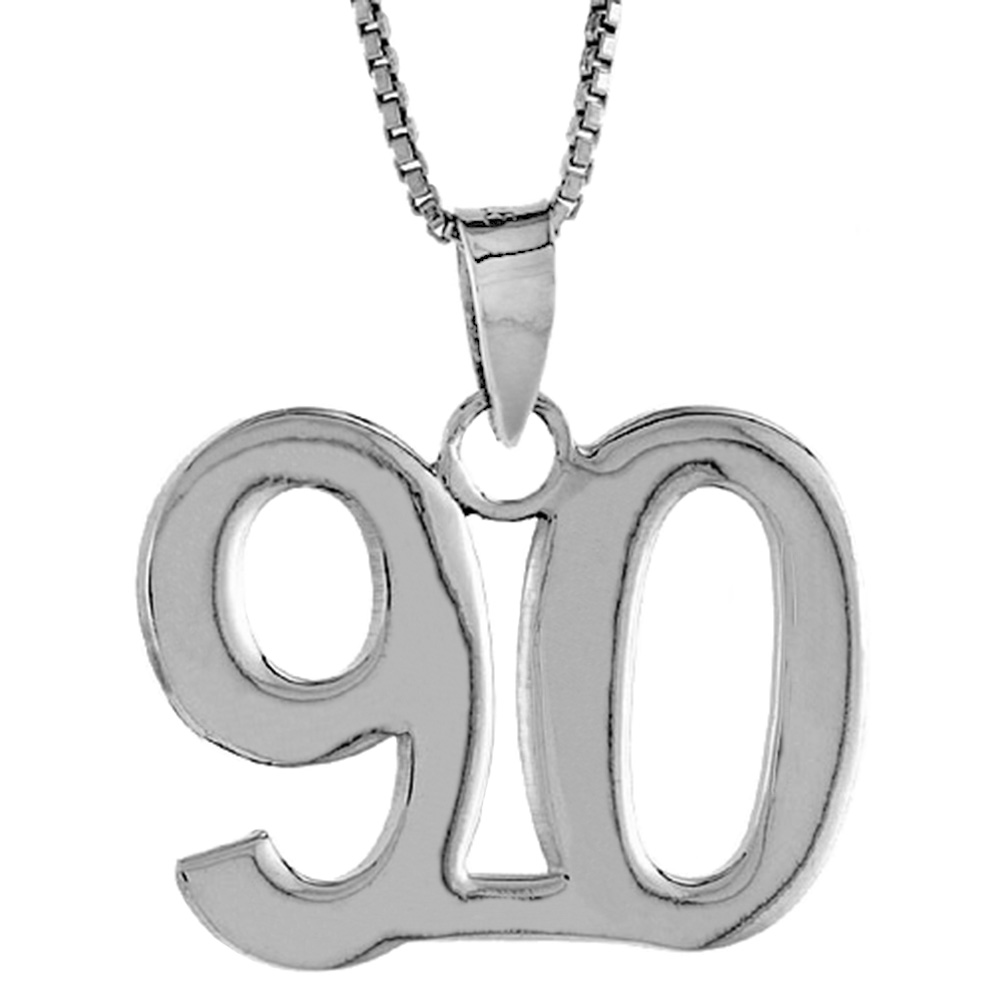 Sterling Silver Number 90 Necklace for Jersey Numbers & Recovery High Polish 3/4 inch, 2mm Curb Chain