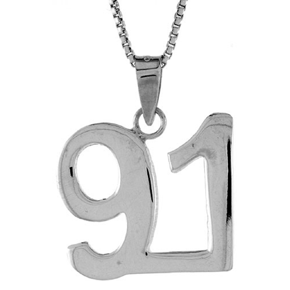 Sterling Silver Number 91 Necklace for Jersey Numbers & Recovery High Polish 3/4 inch, 2mm Curb Chain