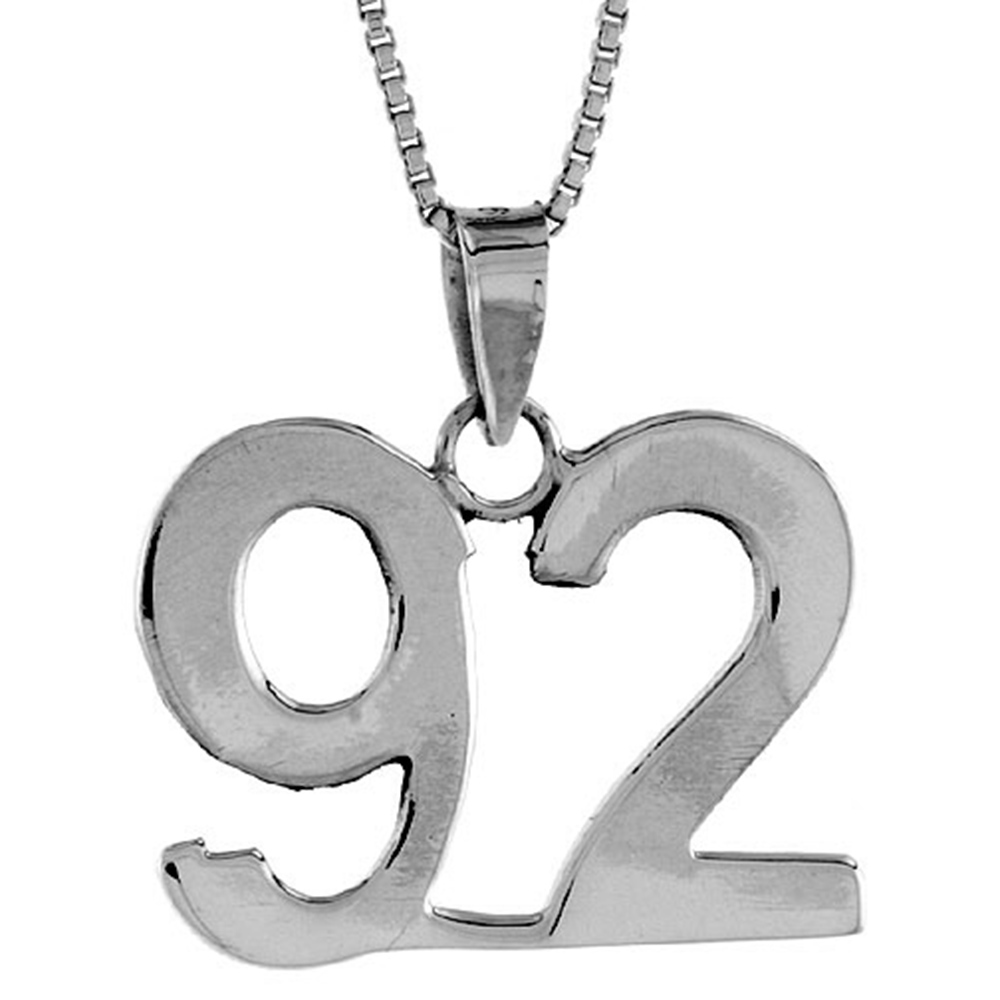Sterling Silver Number 97 Necklace for Jersey Numbers /& Recovery High Polish 3//4 inch 2mm Curb Chain