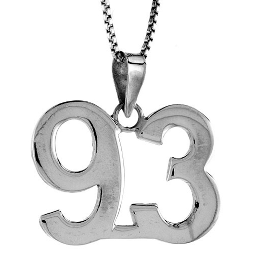 Sterling Silver Number 93 Necklace for Jersey Numbers & Recovery High Polish 3/4 inch, 2mm Curb Chain