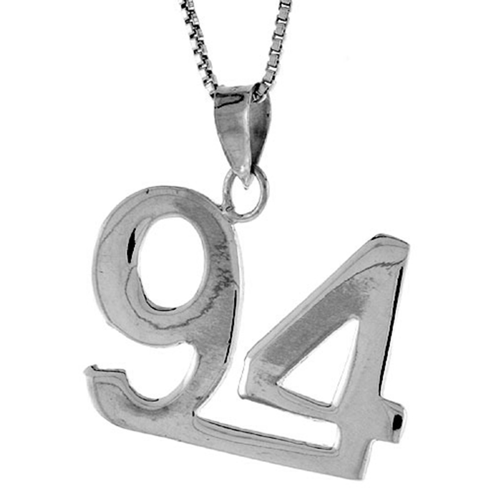 Sterling Silver Number 94 Necklace for Jersey Numbers & Recovery High Polish 3/4 inch, 2mm Curb Chain