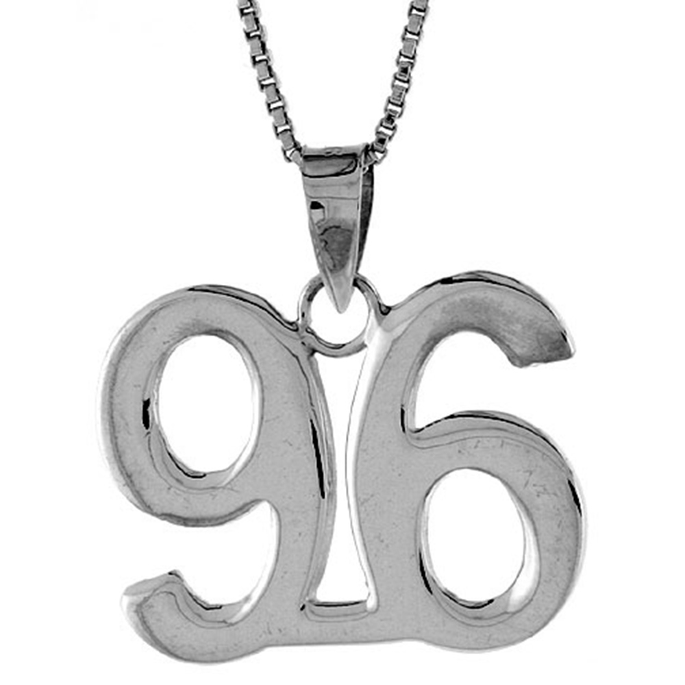 Sterling Silver Number 96 Necklace for Jersey Numbers & Recovery High Polish 3/4 inch, 2mm Curb Chain