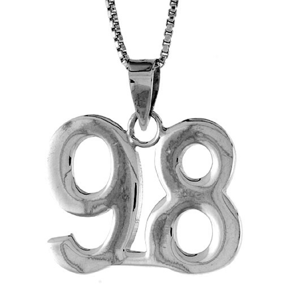 Sterling Silver Number 98 Necklace for Jersey Numbers & Recovery High Polish 3/4 inch, 2mm Curb Chain