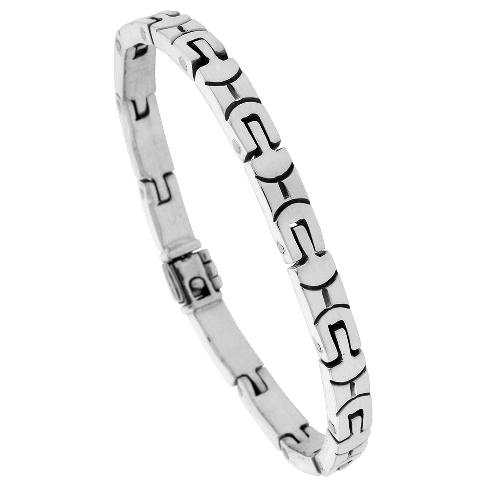 Sterling Silver Gents Link Bracelet U-shaped Handmade 1/4 inch wide, sizes 7.5, 8 and 8.5 inch