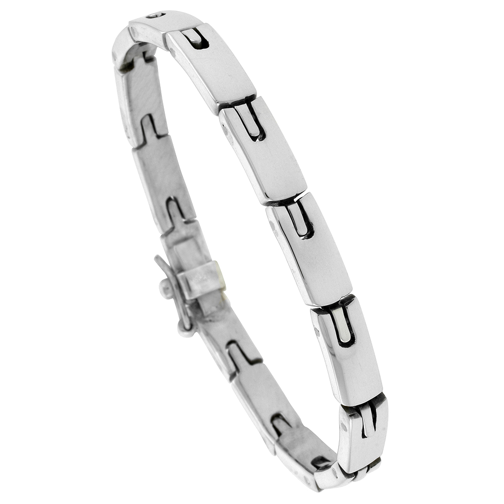 Sterling Silver Gents Horseshoe Link Bracelet Handmade 1/4 inch wide, sizes 7.5, 8 and 8.5 inch