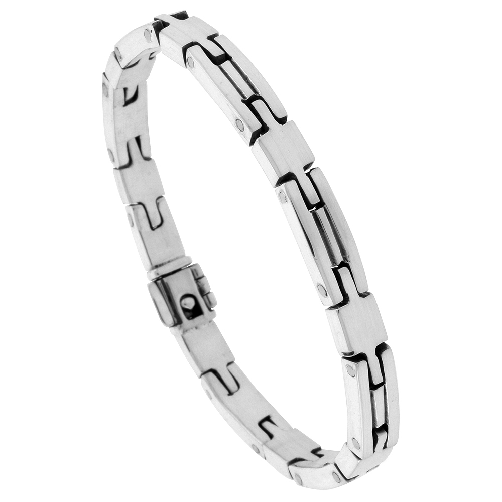 Sterling Silver Gents Brick Style Link Bracelet Handmade 1/4 inch wide, sizes 7.5, 8, 8.5 inch