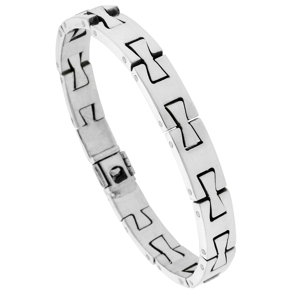 Sterling Silver Gents Dovetail Link Bracelet Handmade 3/8 inch wide, sizes 7.5, 8, 8.5 inch
