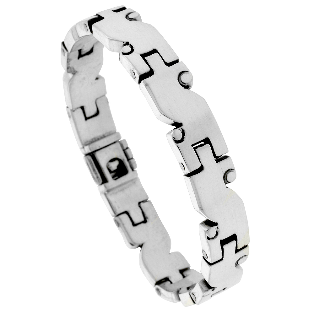 Sterling Silver Gents S-shaped Link Bracelet Handmade 3/8 inch wide, sizes 7.5, 8 and 8.5 inch