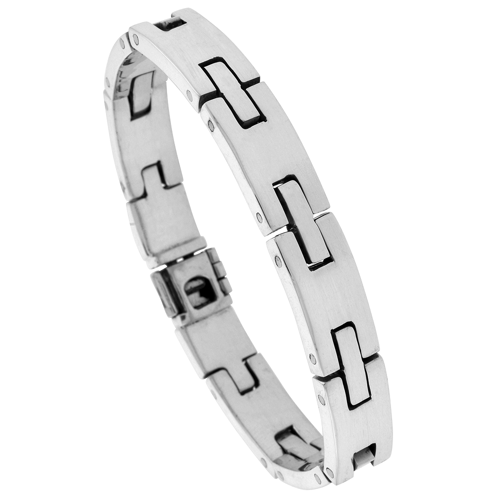 Sterling Silver Gents H Link Bracelet Handmade 3/8 inch wide, sizes 7.5, 8, 8.5 inch