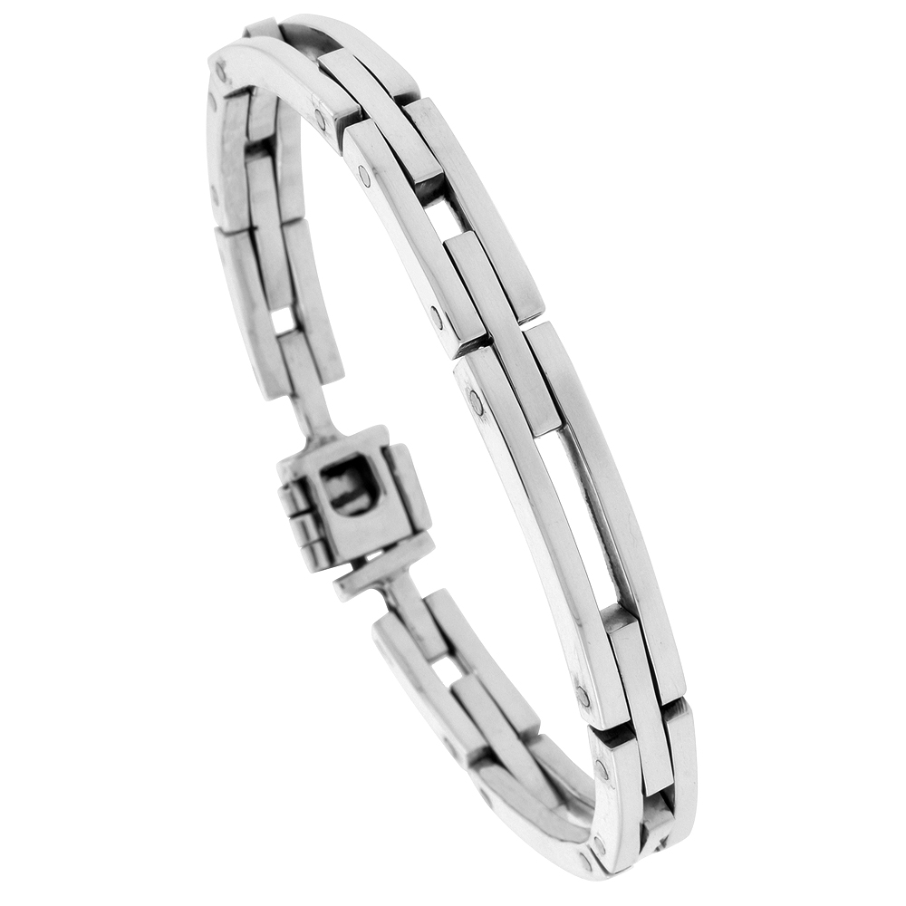 Sterling Silver Gents Bar Cut Outs Link Bracelet Handmade 1/4 inch wide, sizes 7.5, 8, 8.5 inch