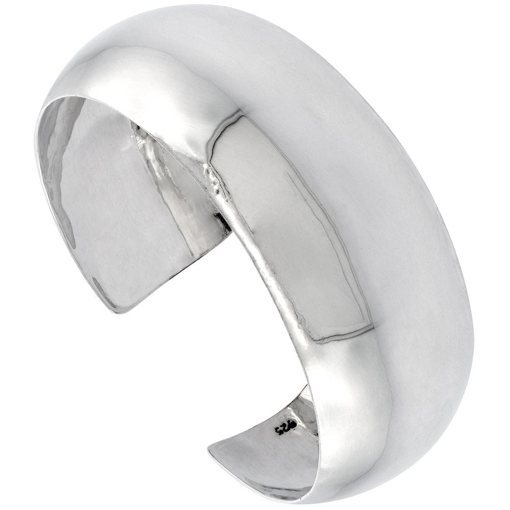 Sterling Silver Cuff Bracelet Plain Domed 1 inch wide Polished Handmade for women