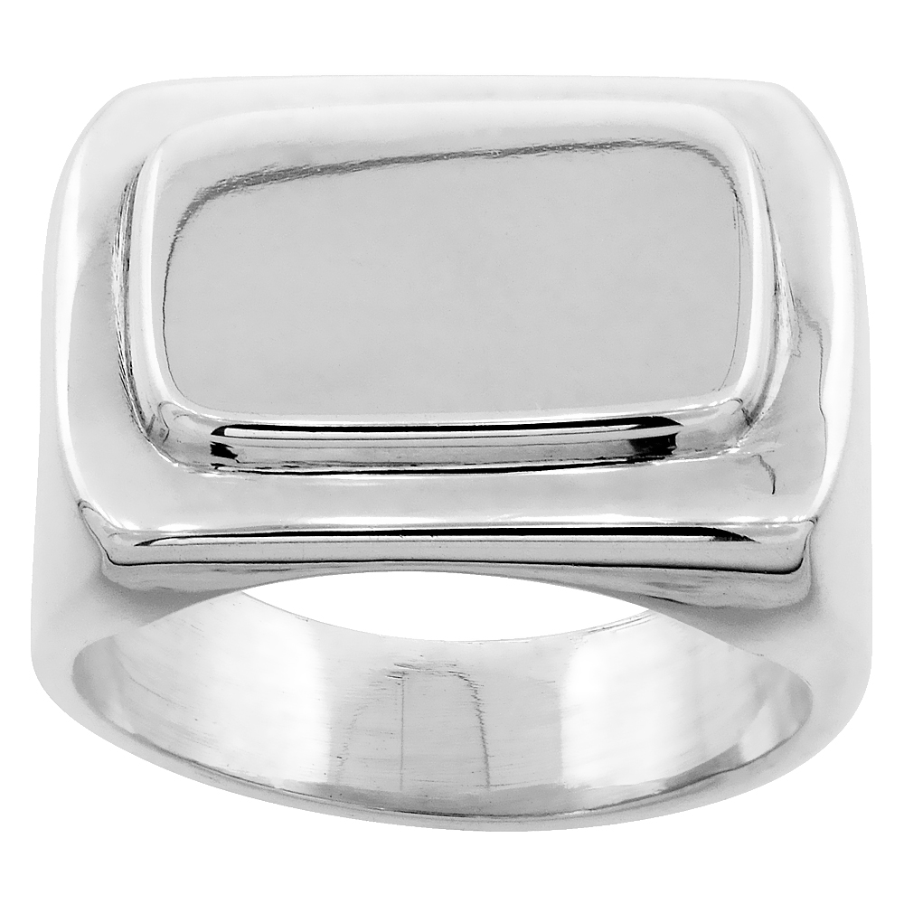 Sterling Silver Signet Ring for Men Large Rectangular Solid Back Handmade 7/16 inch, sizes 7 - 13