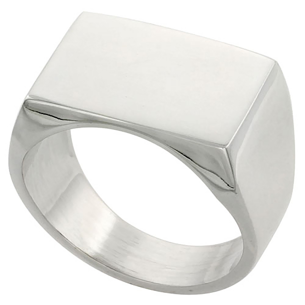 Sterling Silver Signet Ring for Men Rectangular Solid Back Handmade 3/4 inch, sizes 9 - 13