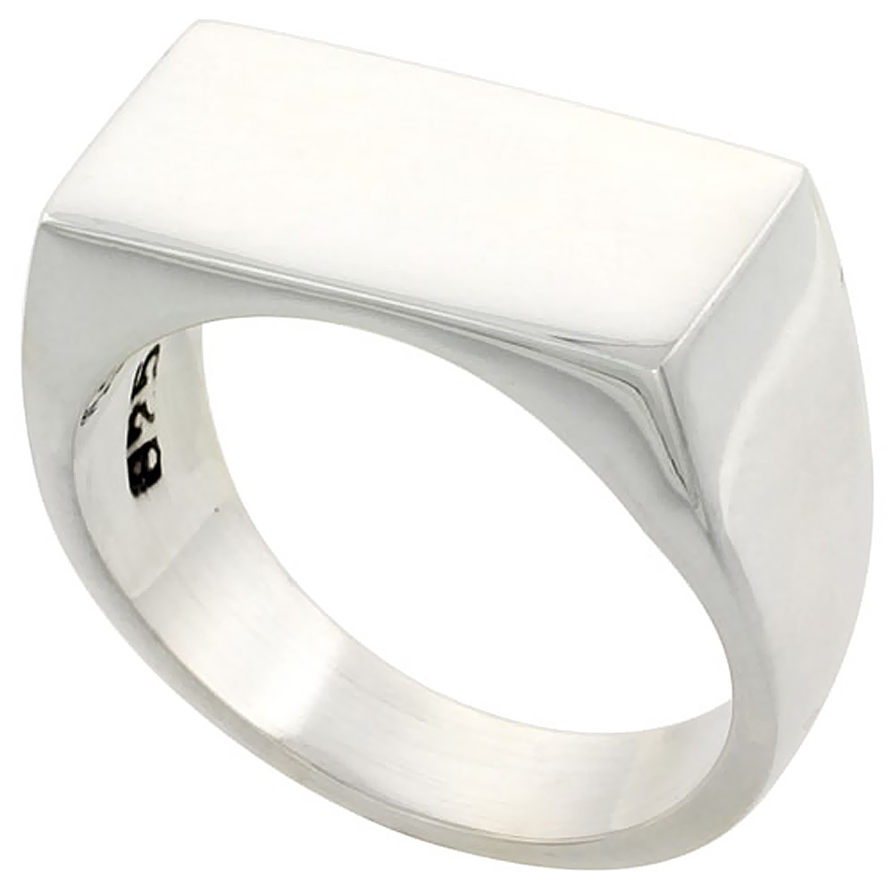 Sterling Silver Signet Ring for Men Rectangular Solid Back Handmade 7/16 inch, sizes 9 - 13