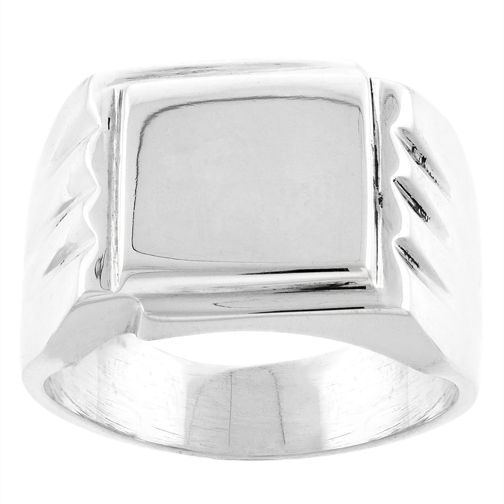 Sterling Silver Signet Ring for Men Square Solid Back Handmade 5/8 inch, sizes 9 - 13