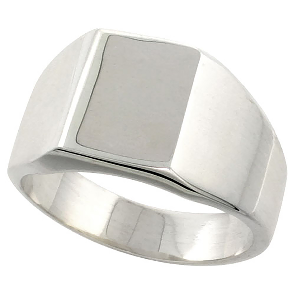 Sterling Silver Signet Ring for Men Square Solid Back Handmade 3/8 inch, sizes 9 - 13