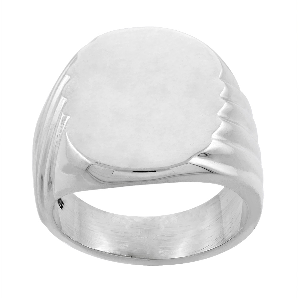 Sterling Silver Signet Ring for Men Large Oval Grooved sides Solid Back Handmade 5/8 inch, sizes 9 - 13