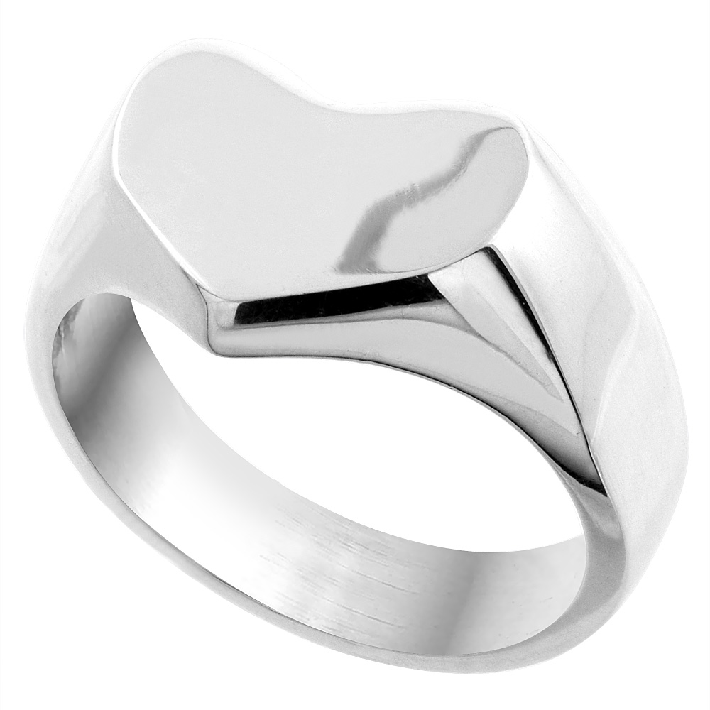 Sterling Silver Signet Ring for Women Heart Shape Solid Back Handmade 5/8 inch, sizes 7 - 10