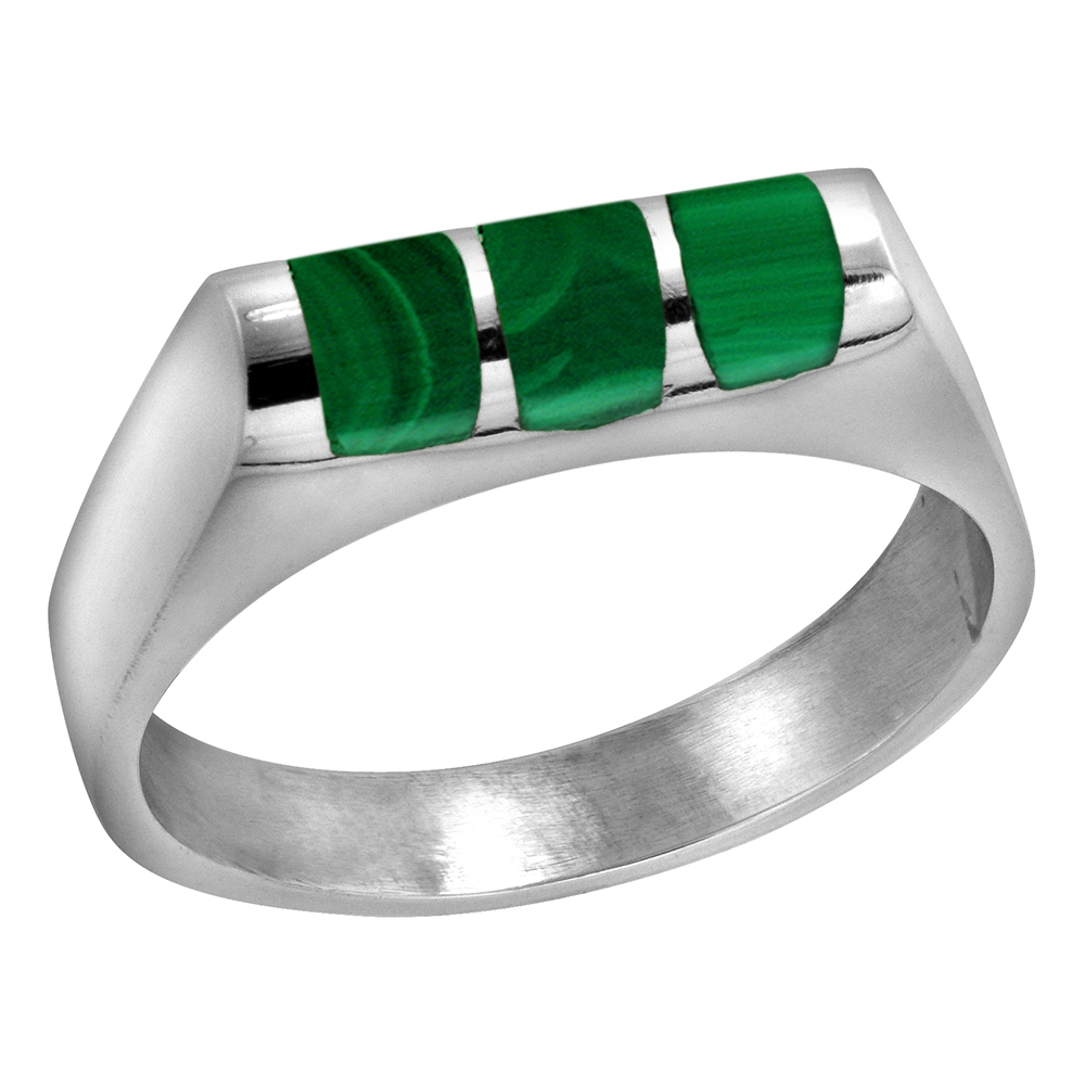 Sterling Silver Malachite ring for boys Half Tube 3 Stripes Solid Back Handmade, sizes 7 - 10