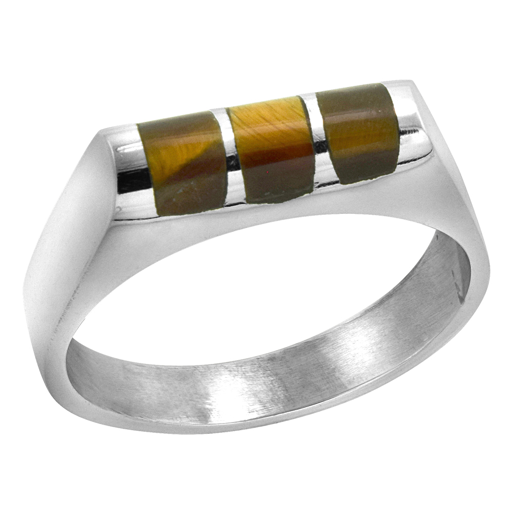 Sterling Silver Tiger Eye Ring for Men Half Tube 3 Stripes Solid Back Handmade, sizes 7 - 10