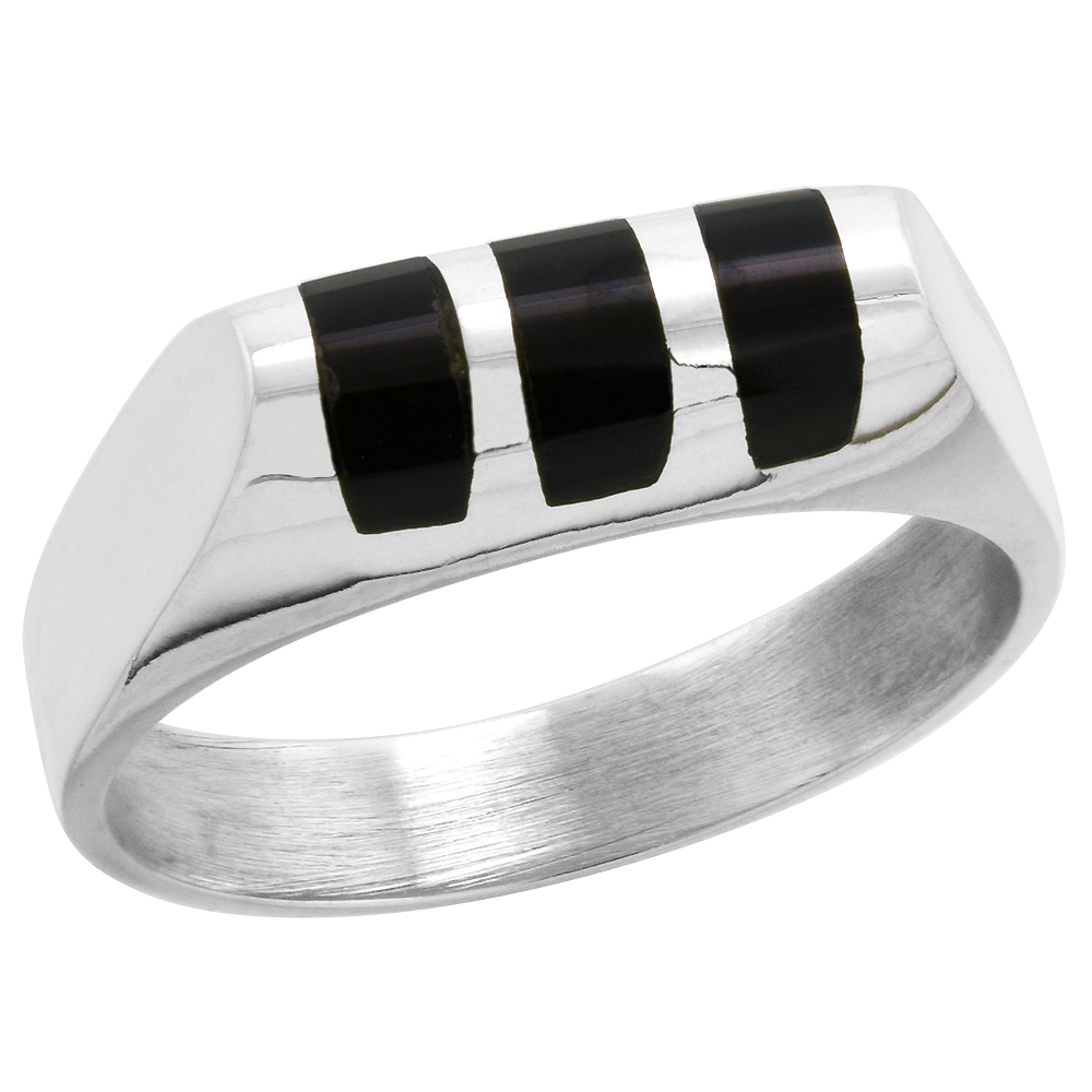 Sterling Silver Black Obsidian Ring for Men Half Tube 3 Stripes Solid Back Handmade, sizes 7 - 10