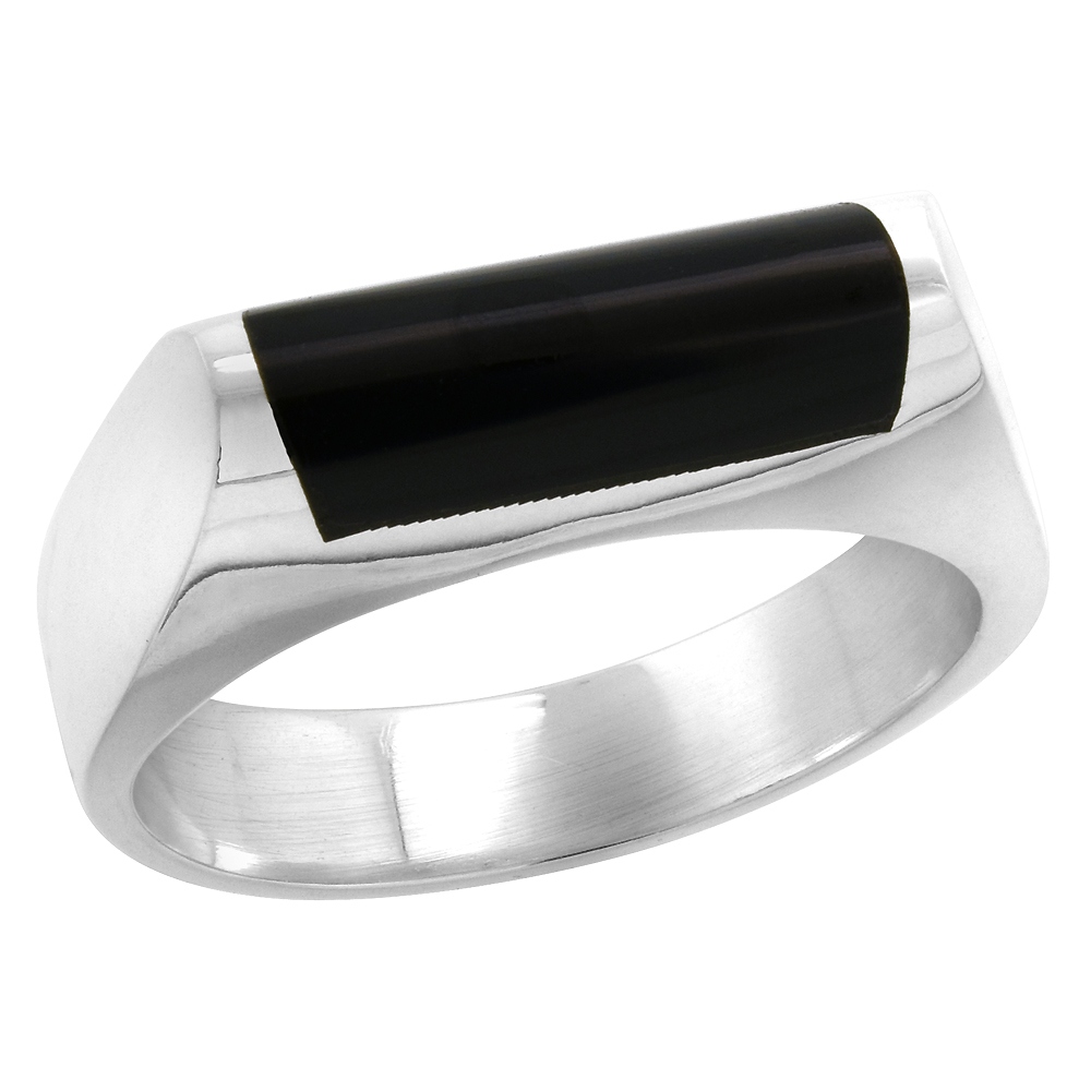 Sterling Silver Black Obsidian Ring for Men Half Tube Thin Solid Back Handmade, sizes 7 - 10