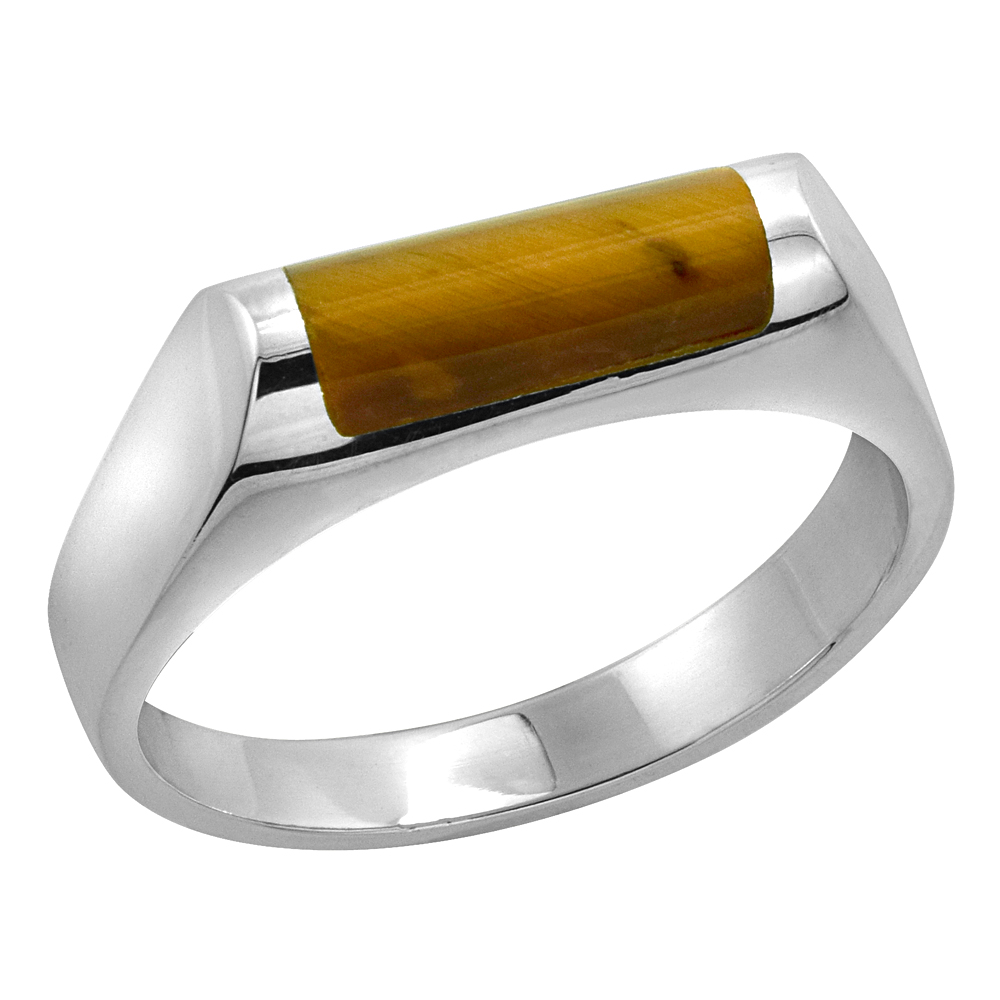 Sterling Silver Tiger Eye Ring for Men Half Tube Thin Solid Back Handmade, sizes 7 - 10