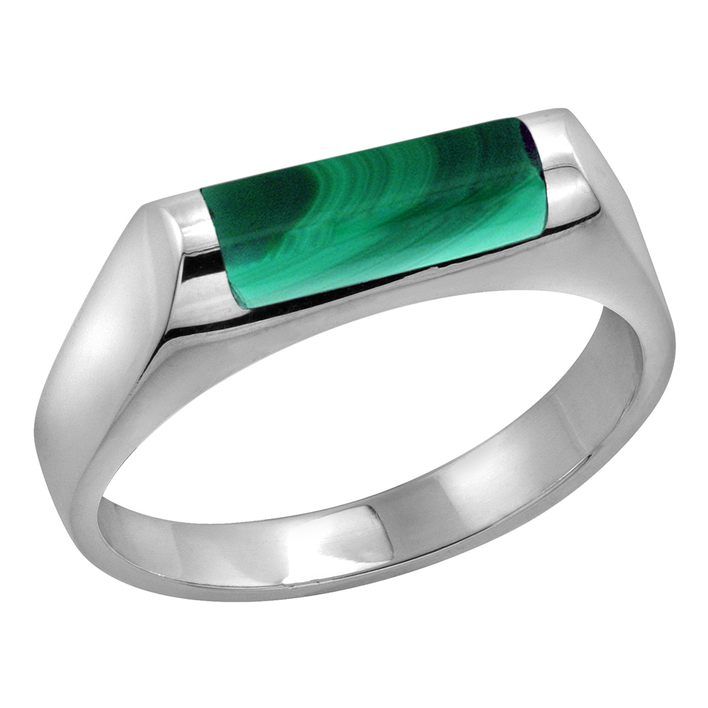Sterling Silver Malachite ring for boys Half Tube Thin Solid Back Handmade, sizes 7 - 10