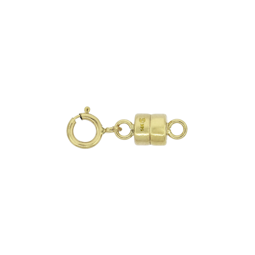 14k Gold 4 mm Magnetic Clasp Converter for Light Necklaces USA, Square Edge