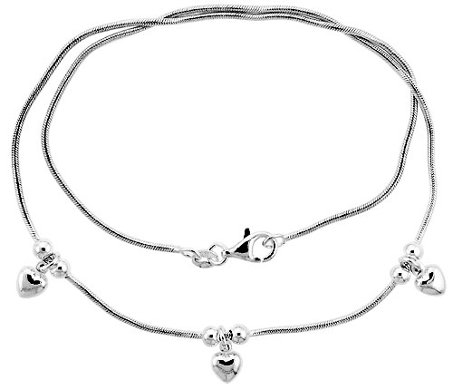 "Sterling Silver Necklace / Bracelet with Three 1/4"" Hearts Pendant"