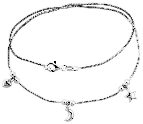 Sterling Silver Necklace / Bracelet with Heart, Moon Star Pendants