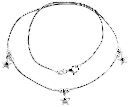 "Sterling Silver Necklace / Bracelet with Three 1/4"" Star Pendants"