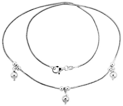 """Sterling Silver Necklace / Bracelet with Three 1/4"""" Ball Pendants"""
