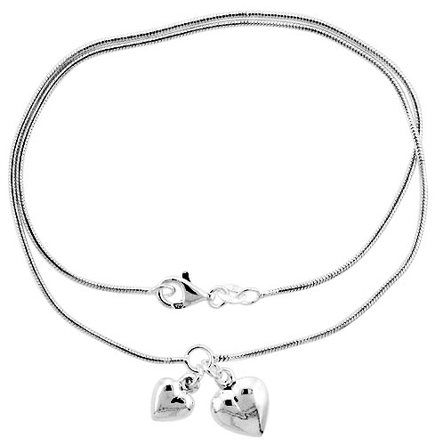 Sterling Silver Necklace / Bracelet with 2 Heart Pendants