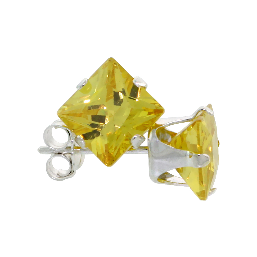 Sterling Silver Cubic Zirconia Square Citrine Earrings Studs 6 mm Princess cut Yellow 2.5 carats/pair