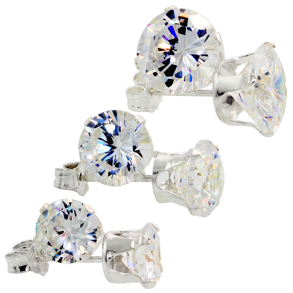 3-Pair Set Sterling Silver Cubic Zirconia Stud Earrings 6, 7 and 8mm Brilliant Cut