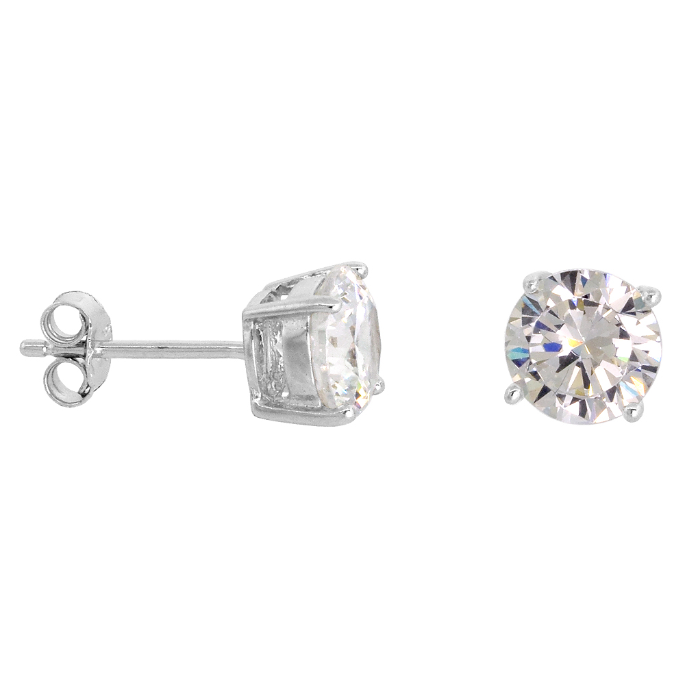 Sterling Silver Cubic Zirconia Earrings Studs 7 mm Basket Setting 2.5 carats/pr