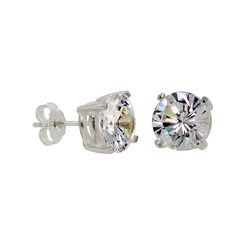 Sterling Silver Cubic Zirconia Earrings Studs 9 mm Basket Setting 5.5 carats/pr